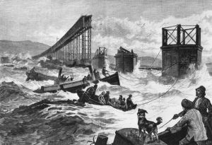 drawing of the Tay Bridge disaster, published in the Illustrated London News, 1880. Photo by Getty Images, Hulton Archive.