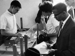 James Hood and Vivian Malone Jones register for classes. James Hood, who faced down George Wallace's stand in the schoolhouse door to help integrate the University of Alabama 50 years ago, died Thursday afternoon at the age of 70, in his hometown of Gadsden.