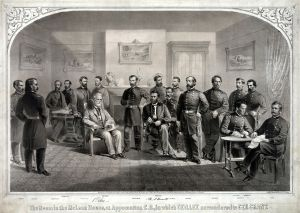 Pictured Left to Right: John Gibbon, George Armstrong Custer,Cyrus B. Comstock, Orville E. Babcock, Charles Marshall, Walter H. Taylor, Robert E. Lee, Philip Sheridan, Ulysses S. Grant, John Aaron Rawlins, Charles Griffin, unidentified, George Meade, Ely S. Parker, James W. Forsyth, Wesley Merritt, Theodore Shelton Bowers, Edward Ord. The man not identified in the picture's legend is thought to be General Joshua Chamberlain, a hero of Gettysburg who presided over the formal surrender of arms by Lee's Army of Northern Virginia on April 12, 1865. The Major & Knapp Eng. Mfg. & Lith. Co. 71 Broadway - Library of Congress