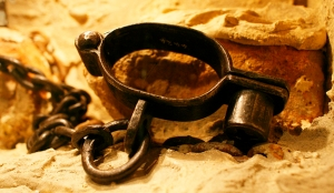 Shackles used to control slaves in South Africa in the 18th century on display at the Slave Lodge in Cape Town, South Africa Thursday 22 March 2007. The city of Cape Town was built by slave labourers under the control of the Dutch East India Company which brought slaves from East Africa and India as well as enslaved thousands of local San and Khoi peoples after the Company arrived in the Cape from Europe. EPA/NIC BOTHMA