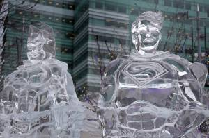 An ice sculpture featuring Batman v Superman is set up in Campus Martius as the Meridian Winter Blast kicks off. The movie will be released in theaters March 25, 2016. Photo by Mandi Wright/Detroit Free Press