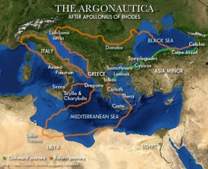 Route of the Argonauts as described in Apollonius. Note: Since poetic geography is not exact, some details are conjectural. Click to view full size. (Map © Jason Colavito / Satellite composite image from NASA)